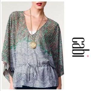 CAbi #731 Art tunic top kimono sheer blouse